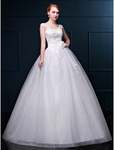 Ball Gown Floor-length Wedding Dress width Sequined And Flower