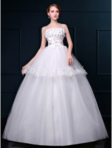 Floor-Length Wedding Dress with Ball Gown Appliques Ruched