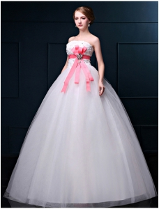 White Ball Gown Strapless  Beading Floor-Length Bridal Wedding Gown