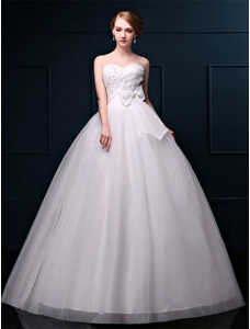 Floor-Length Beading Bow Sweetheart Bridal Wedding Gown