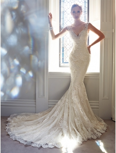 Court Train Ivory Bridal Wedding Gown with V-Neck Mermaid Beading