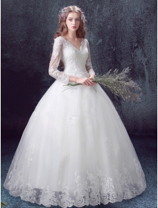Long Sleeves A-Line Ball Gown Tulle Bridal Dress With Lace And Beading Applique
