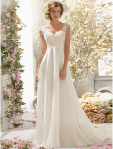 Ivory Backless Wedding Dress V-neck Beading Appliques Court Train