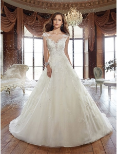 A-line V-neck Chapel Train Wedding Dress With Appliques Beading Sequins