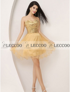 Fashion Gold Sweetheart Draped Tulle Cocktail Dress