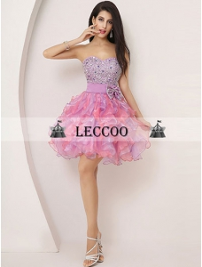Two-Tone Prom Dress Strapless Beading Tiered Organza Short Homecoming Dress