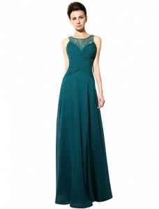 Dark Green A-line Bateau Neck Applique Chiffon Bridal Mother Dress with Backless