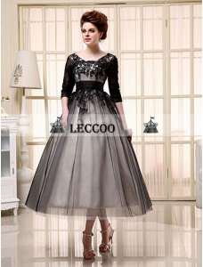 Half Sleeve Ball Gown Tea-Length Tulle Homecoming Dress with Applique