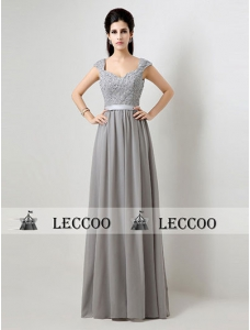 Grey Pleated Chiffon Bridesmaid Dress With Flower Applique