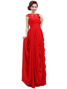 Red Illusion Neckline Chiffon Dress with Pleated Skirt