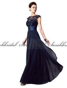 Dark Navy Chiffon Beading Bridal Mother Dress