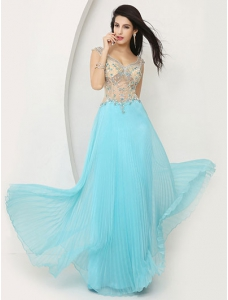 Skyblue Pleated Chiffon Illusion A-line Skirt