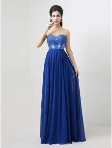 Jewelry Blue Pleated Chiffon Lace Sweetheart Neck Prom Dress