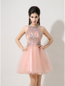 Short Pink Halter Lace Prom Dress with Luxury Rhinestone