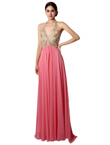 Halter Ruched Chiffon Prom Dress