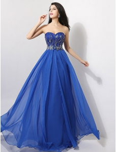Brilliant Jewelry Blue Pleated Chiffon Lace Sweetheart Applique Evening Dress