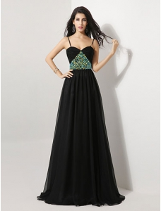 Spaghetti Strap Pleated Sequins Floor-Length Black Evening Dress