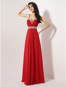 Grace Pleated Spaghetti Straps Floor-Length A-line Rhinestone Red Evening Dress