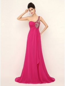 Rosy Prom Dress One-shoulder Pleated Sweep Train