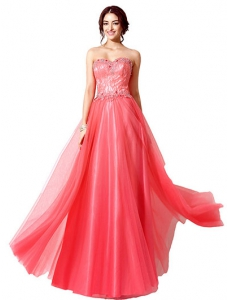 Red Sleeveless Tulle Flower Applique Evening Dress
