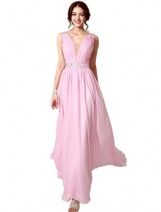 Pink Chiffon Pleated Illusion Prom Dress