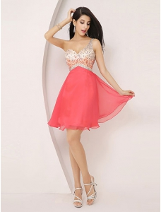 One-shoulder Chiffon Sleeveless Rhinestone Cocktail Dress